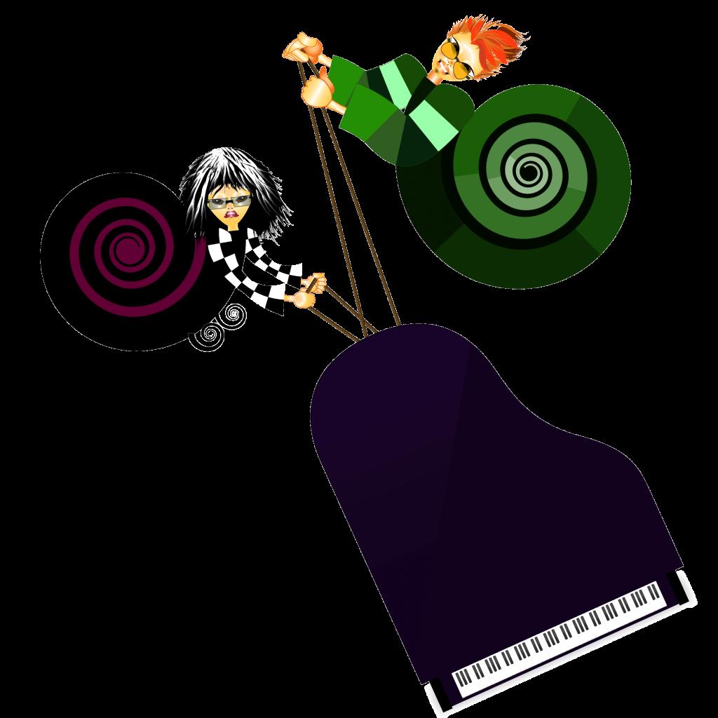 Portfolio Coco e T-Jey carregando piano
